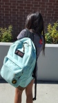 Katie, sixth grade, has a very trendy backpack. CAMILLE OLEGARIO, , STAFF PHOTOGRAPHER