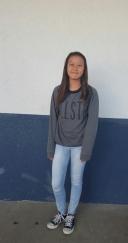Beryl, eighth grade, wearing a sweatshirt from Hollister.     SAHIAN NUNEZ, STAFF PHOTOGRAPHER