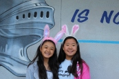 Cassidi and Chamine wears bunny ears on Thursday of Spring Egg week